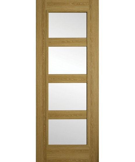 Doras Daiken Limed Oak 4 Panel Clear Glass Door