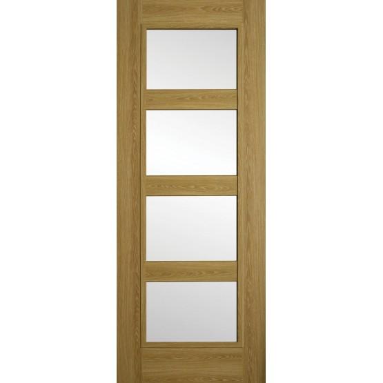Doras Daiken Limed Oak 4 Panel Clear Glass Door