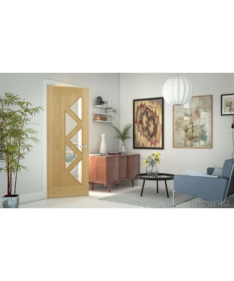 Deanta HP27G Oak Glazed Door