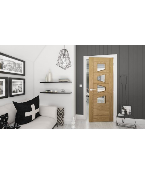 Deanta HP25GC Oak Clear Glass Door
