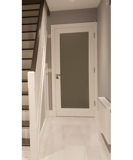 Primed Shaker Frosted Glass Door
