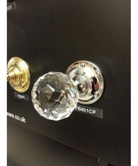 Fulton & Bray FB401CP Facetted Glass Mostise Door Knob