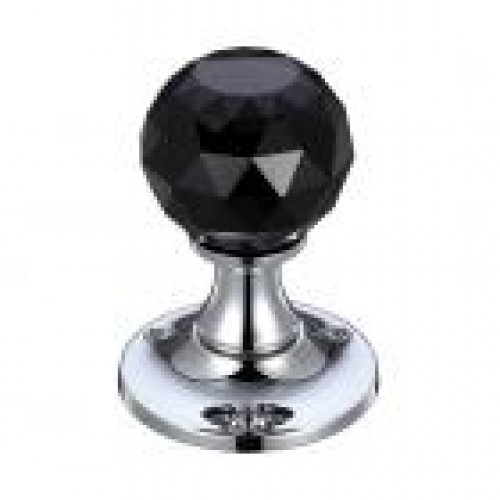 Zoo Hardware FB401CBPL Facetted Glass Mortice Door Knob