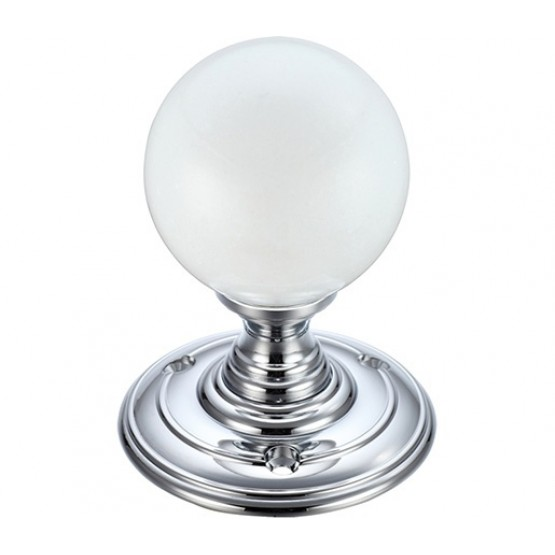 Zoo Hardware FB302CP Frosted Glass Ball Mortice Door Knob