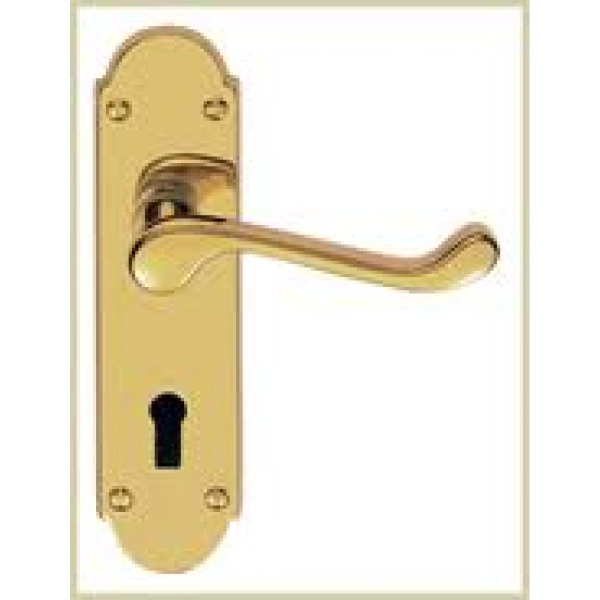 Brass Door Handle Lock Hinges Set