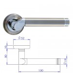 Linosa Satin Nickel/Chrome Lever On Rose Door Handle