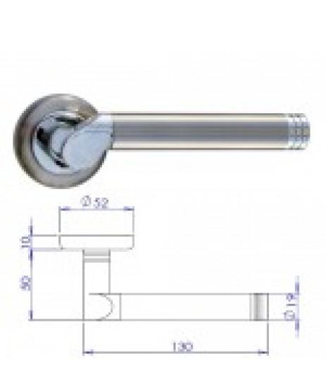 Linosa Satin Nickel/Chrome Lever On Rose Door Handle