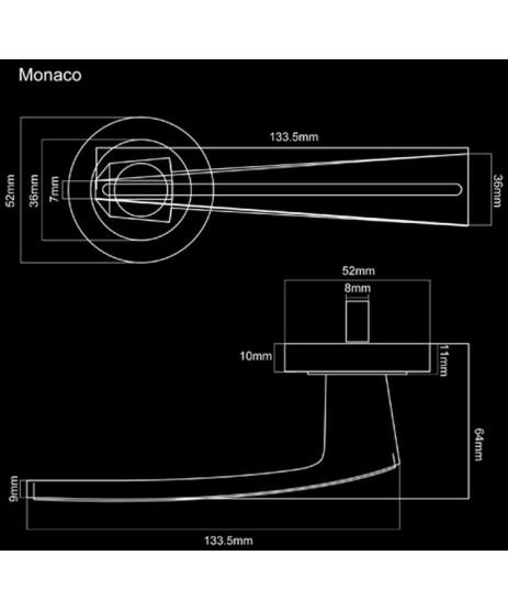 Fortessa Monaco Lever on Rose Door Handle