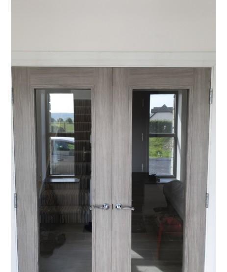 Doras Daiken Grey 1 Lite Clear Glass Door