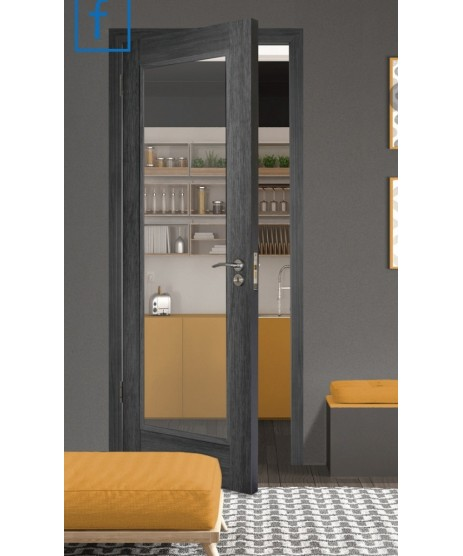 Doras Daiken Grey 1 Lite Clear Glass Door