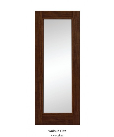 Doras Daiken Walnut 1Lite Clear Glass Door