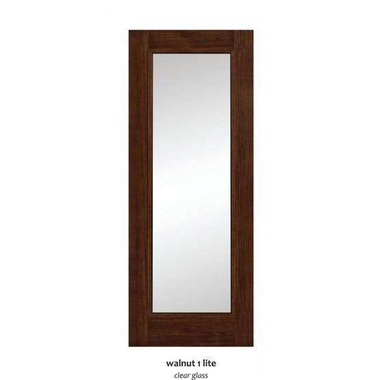 Doras Daiken Walnut 1Lite Clear Glass Door