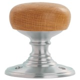 Carlisle Brass Oak Wooden Door Knob on Satin Chrome (DK32WOSC)