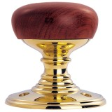Carlisle Brass Walnut Wooden Door Knob on Polished Brass (DK32WWPB)