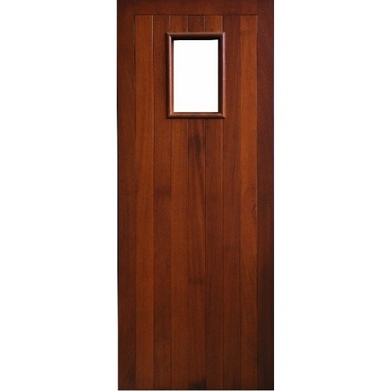 External Door Mahogany Timber Solid Door Glazed (007) (Erne)