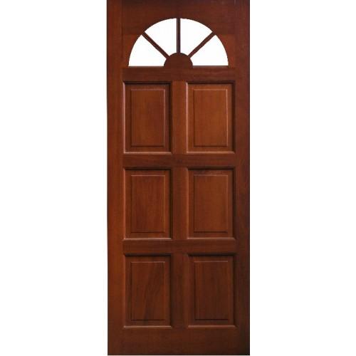 External Door Mahogany Timber Solid Door Fanlight Glass
