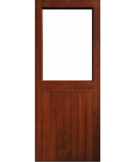 External Door Mahogany Timber Solid Sheeted Glazed Door 0015