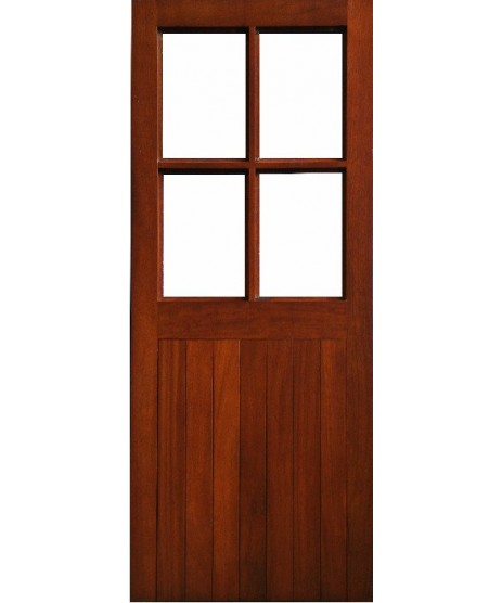 External Door Mahogany Timber Solid Glass (0022) 4 pane Half Sheeted