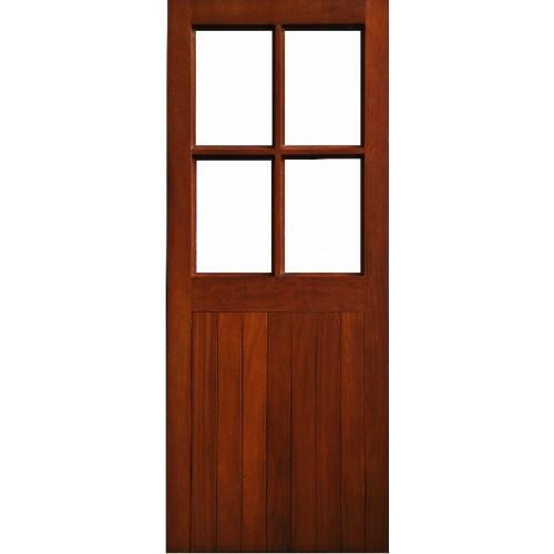 External Door Mahogany Timber Solid Door Clear Glass 022 Half Sheeted