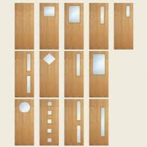 Oak flush fire door set pre hung for Door vision panel