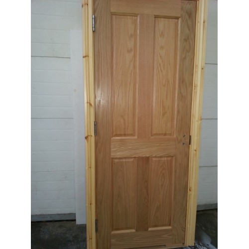 Pre hung 4 panel oak door with red deal frame set for Pre hung doors