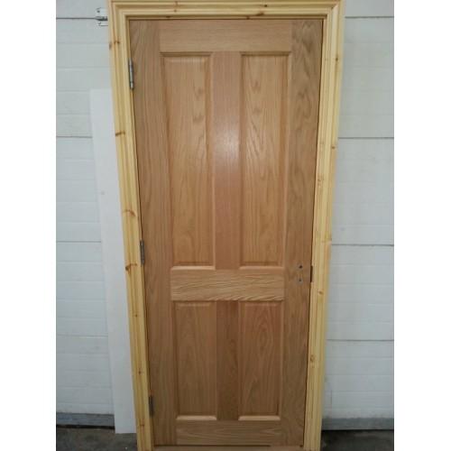 Pre Hung 4 Panel Oak Door With Red Deal Frame Set