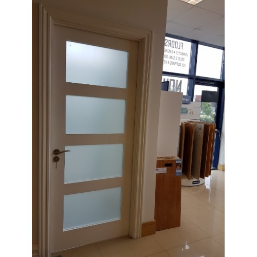 Columbus White Primed Door Frosted Glass