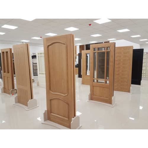 External Door Mahogany Timber Solid Door Clear Glass 022