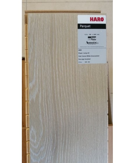 HARO Parquet 4000 Plank 1-Strip Oak Creme White Limewashed 4V naturalin oiled