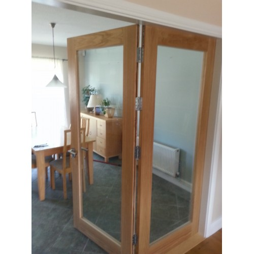 Oak Bi-Fold Door Glass Door set