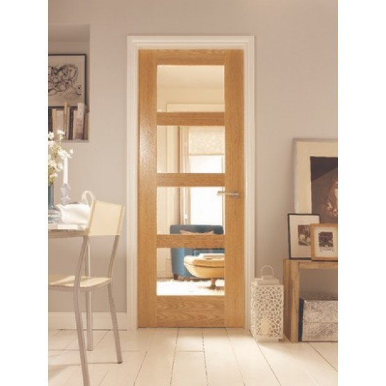 Deanta HP1G Oak Door Clear Glass