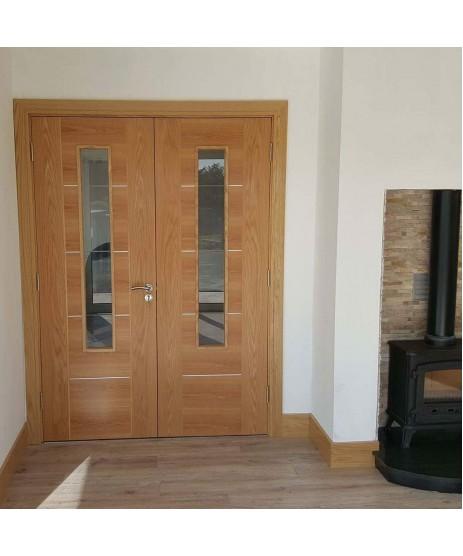 Deanta HP33G Oak Glazed Door