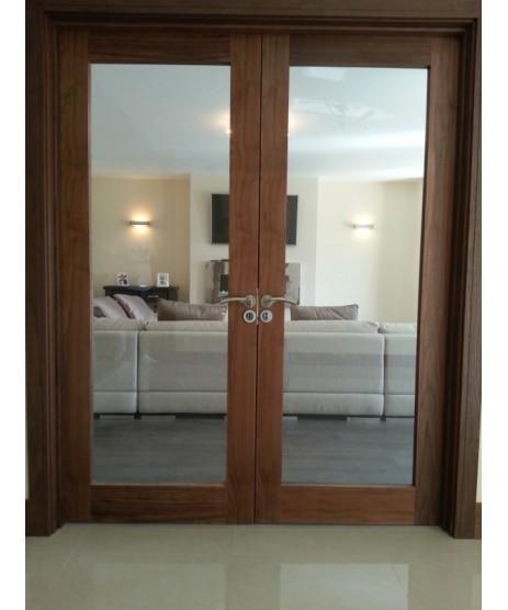 Pre Hung Walnut Glaze Double Door Set