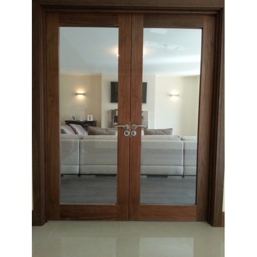 Pre hung walnut glaze double door set for Double hung exterior french doors