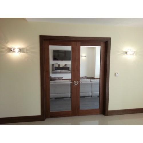 Pre hung walnut glaze double door set for Double glazed door and frame