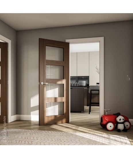 Deanta HP1G Clear Glass Walnut Door