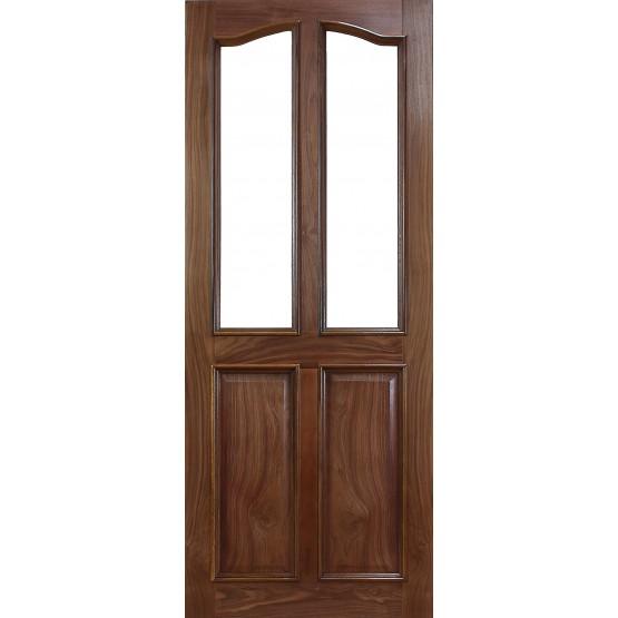 Deanta VR2G Walnut 4 Panel Door, unglazed