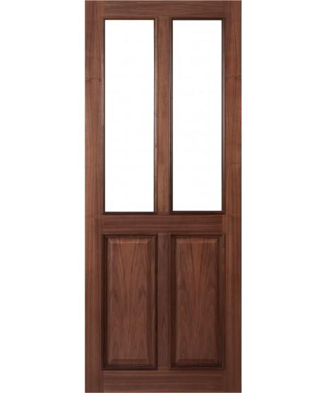 Deanta VR4G Walnut 4 Panel Door unglazed