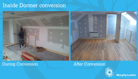 Inside Dormer during and after